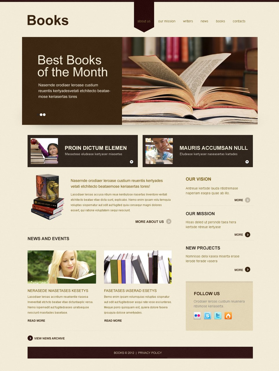 Books Website Template for Writers and Editorial Offices - image