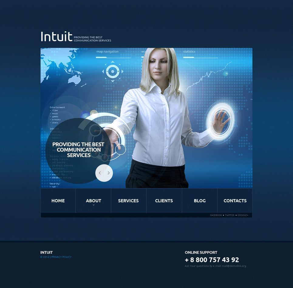 Blue Website Template with Large Content Slider - image
