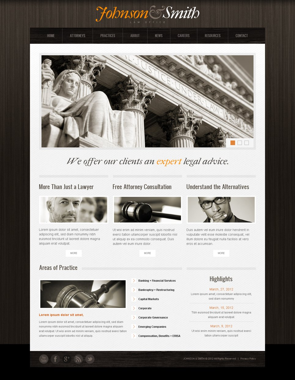 Attorney and Lawyer Website Template with Wood Texture on Background - image