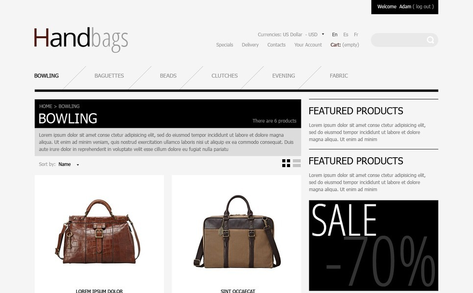 PrestaShop Theme für Handtasche  New Screenshots BIG