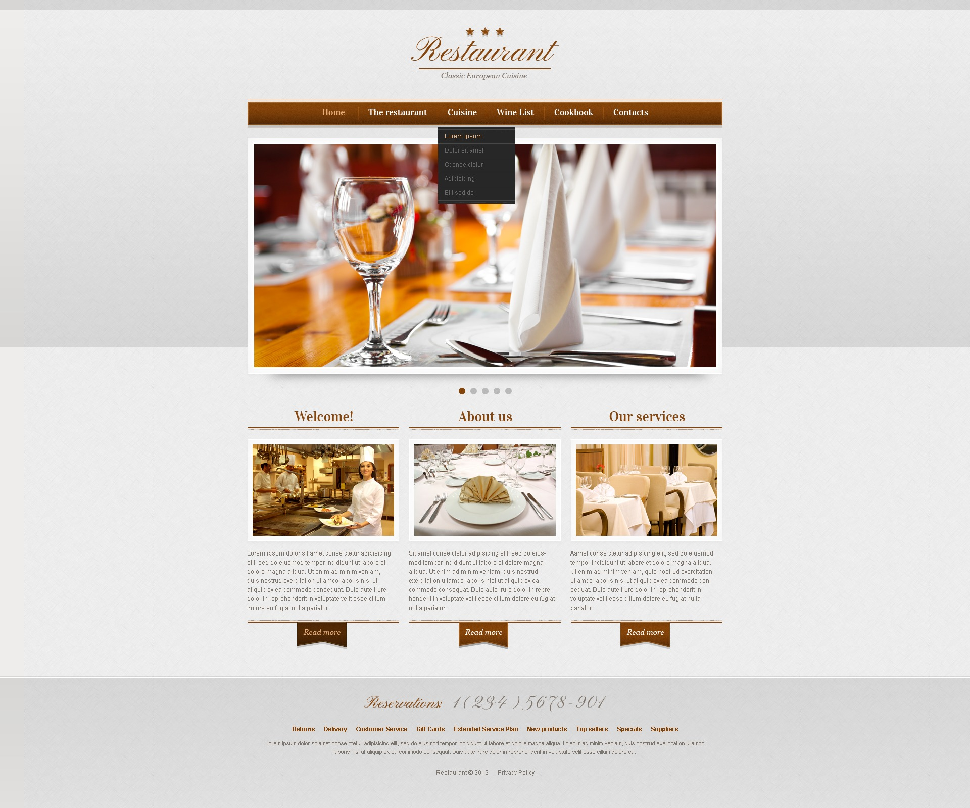 cafe and restaurant responsive website template 41288