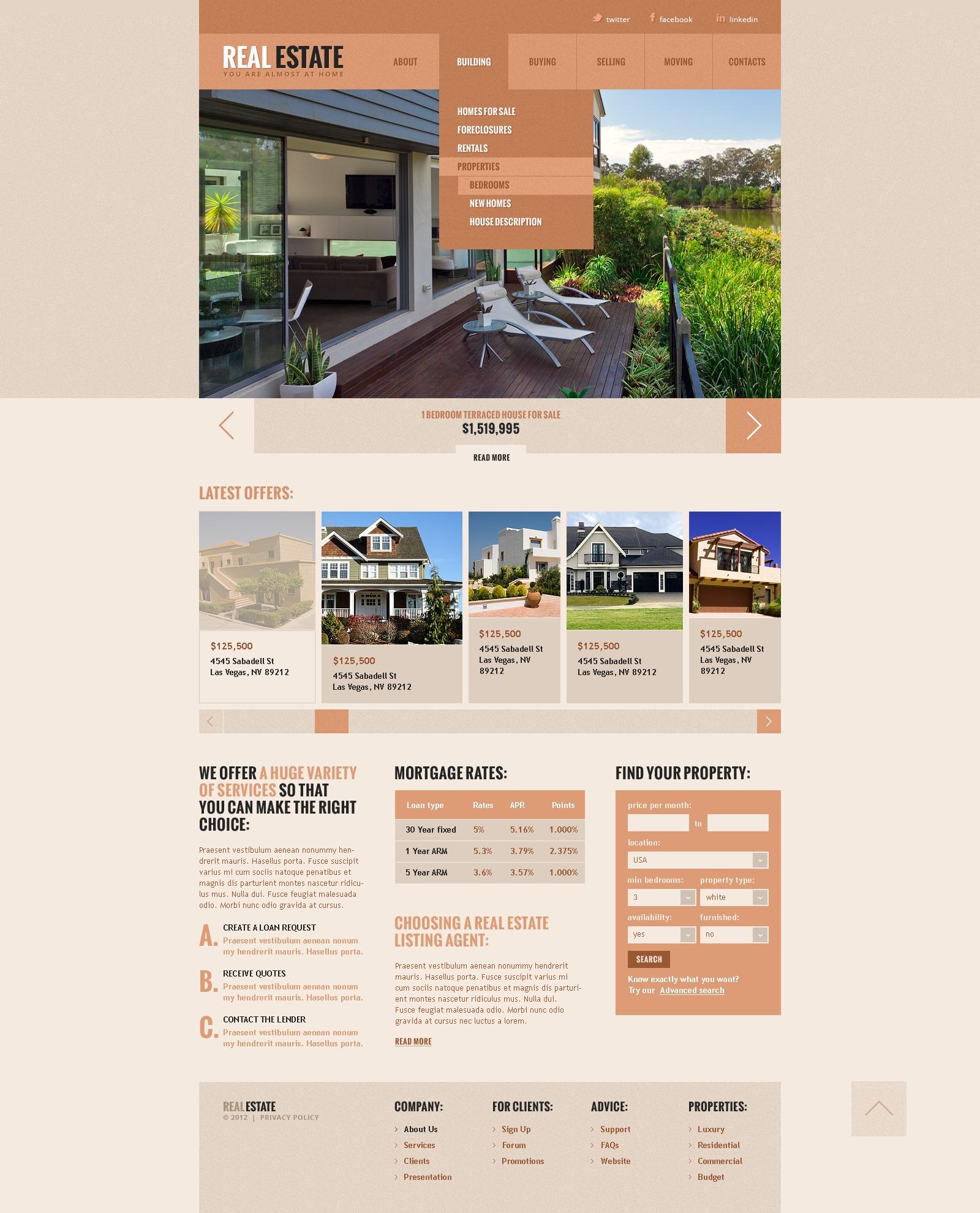 Ingatlanügynökségi Weboldal sablon 41268 - képernyőkép