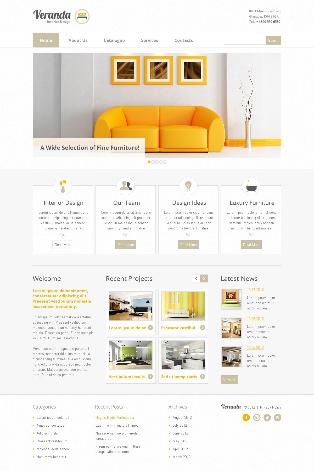 Interior Design Website Template 41215