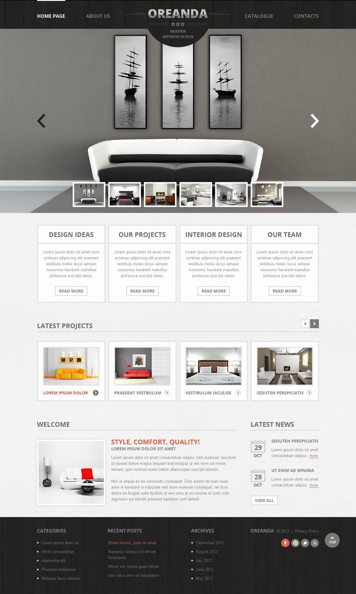 Interior Design Website Template #41277