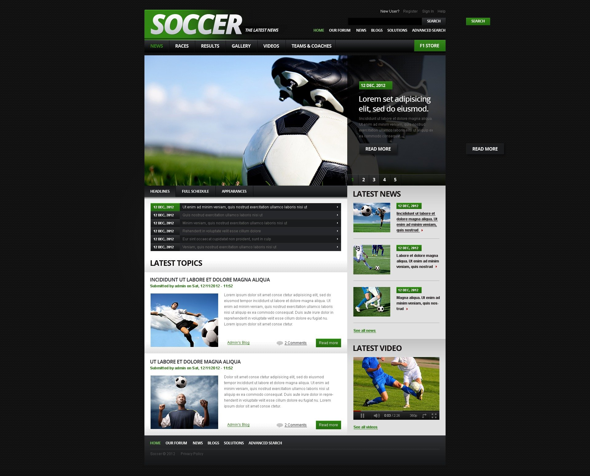 Soccer drupal template 41245 for Drupal 7 view template