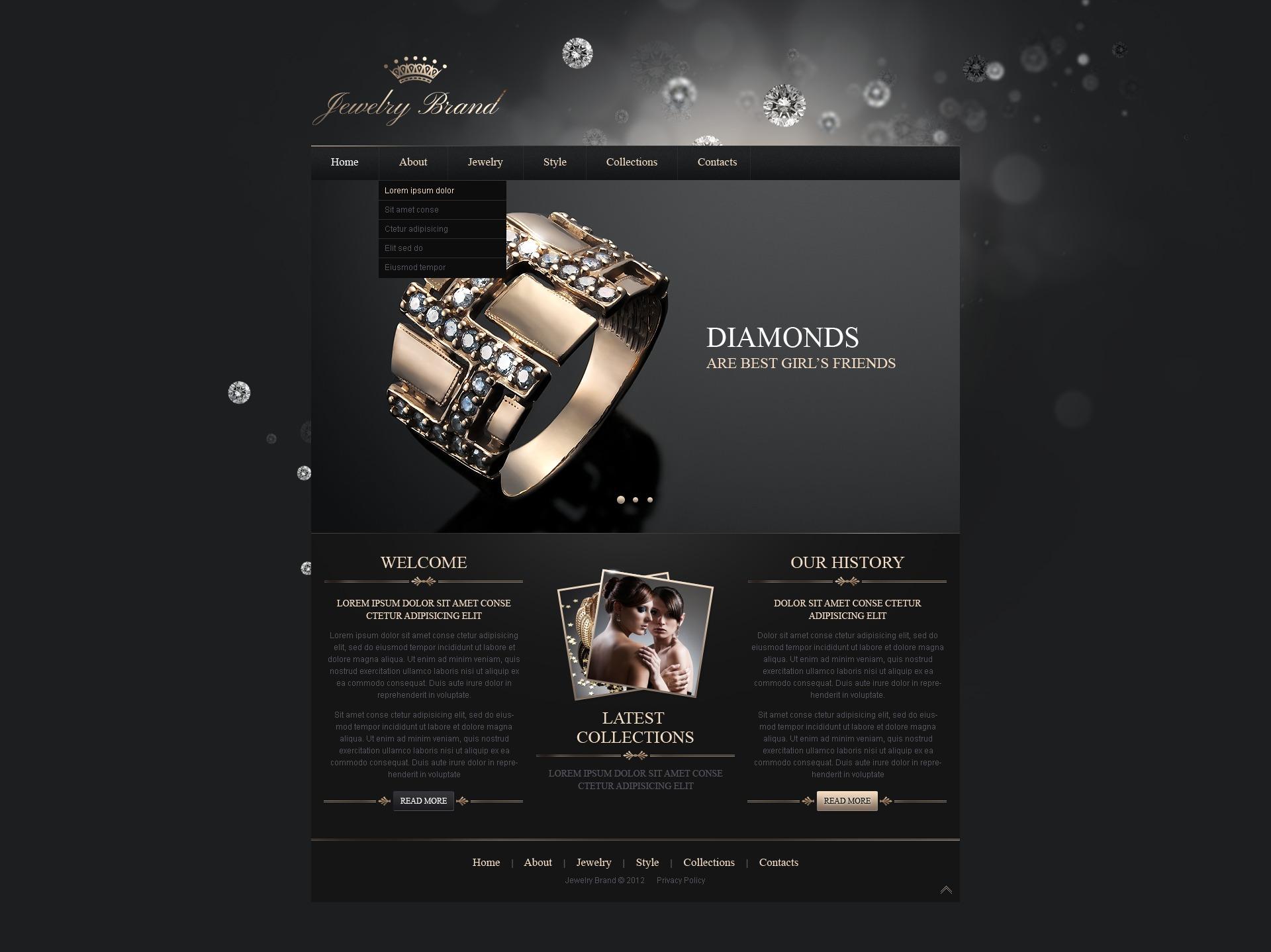 Template siti web 41287 per un sito di gioielli for Siti cinesi gioielli