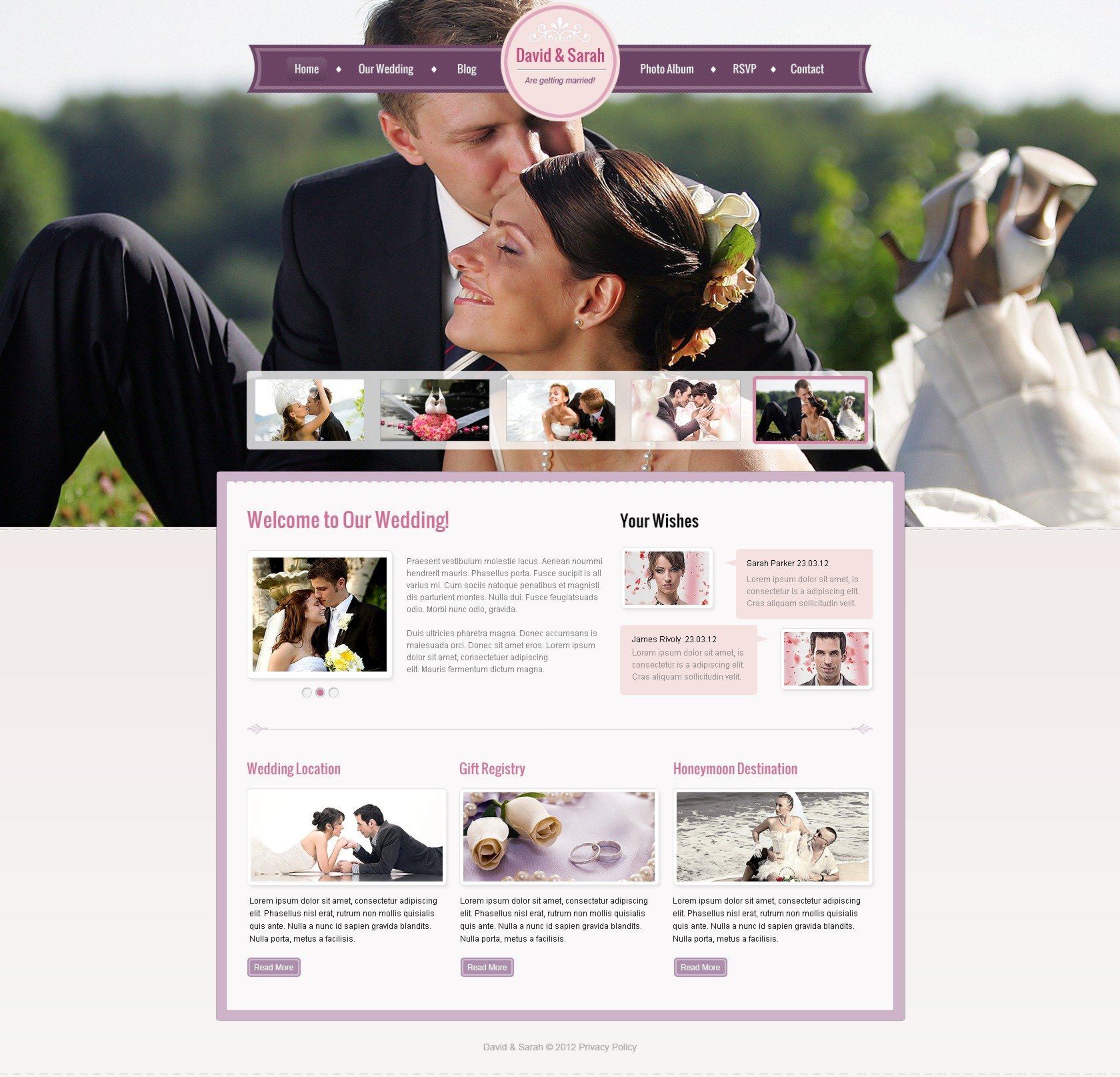 Template Web para Sites de Casamento №41282