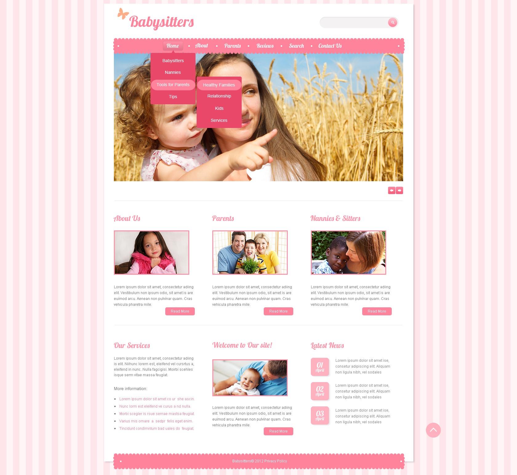 Website Vorlage #41266 für Babysitter