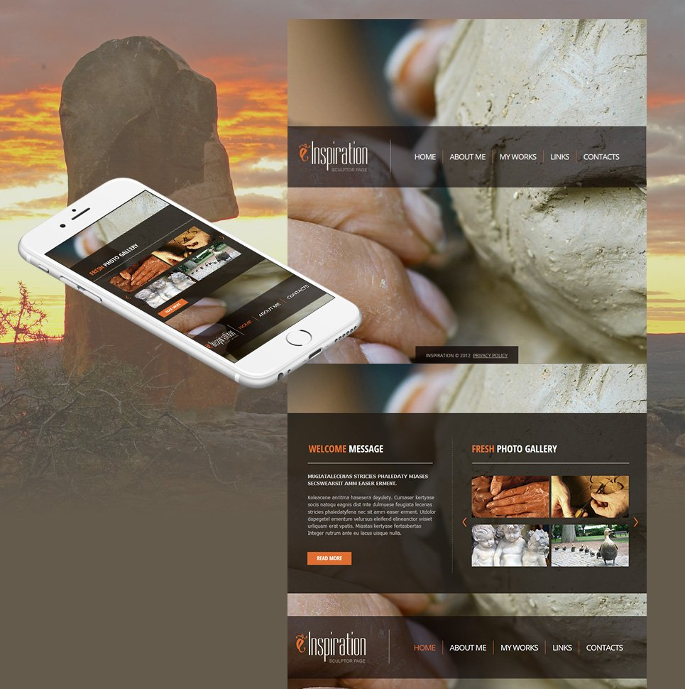 Sculpting Website Template with a Photo Background - image