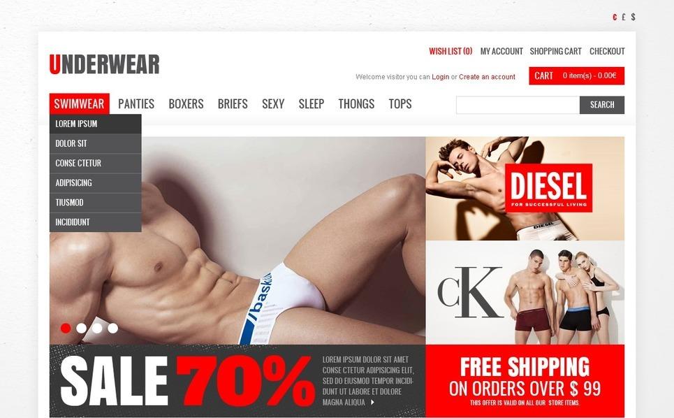 """OpenCart Vorlage namens """"Unterhosen für Herren"""" New Screenshots BIG"""