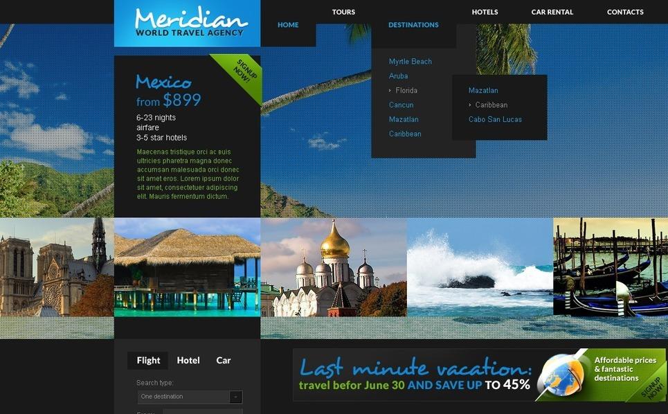 Flash CMS Vorlage für Reisebüro  New Screenshots BIG