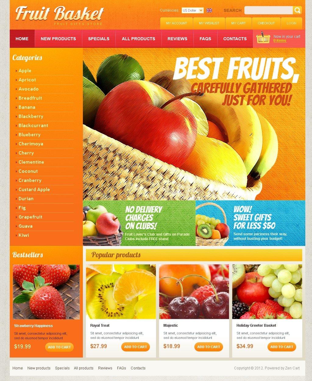 """Fruit Basket"" ZenCart模板 #41347"