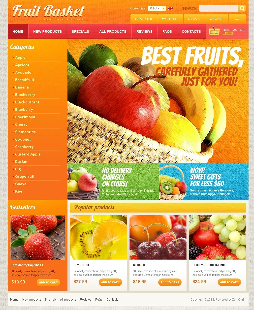 Fruit Basket ZenCart Template