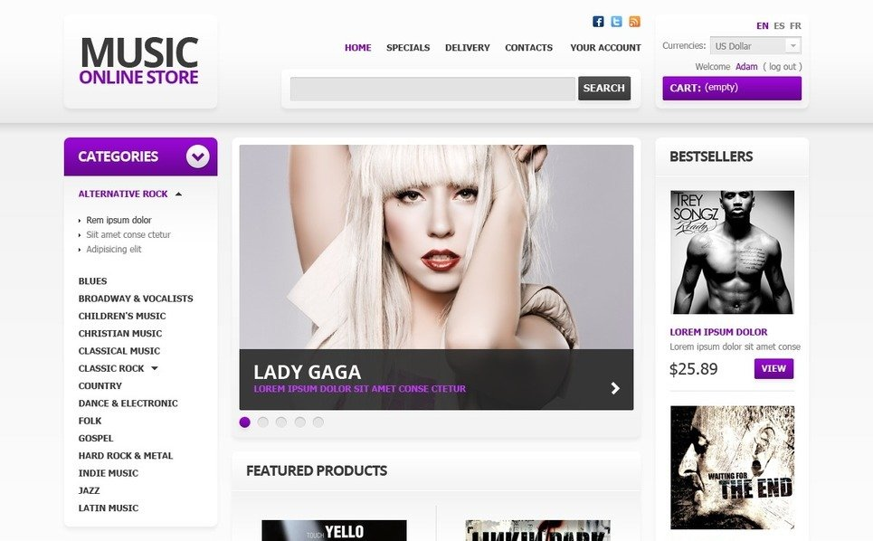 Tema PrestaShop  para Sites de Loja de Música №41419 New Screenshots BIG