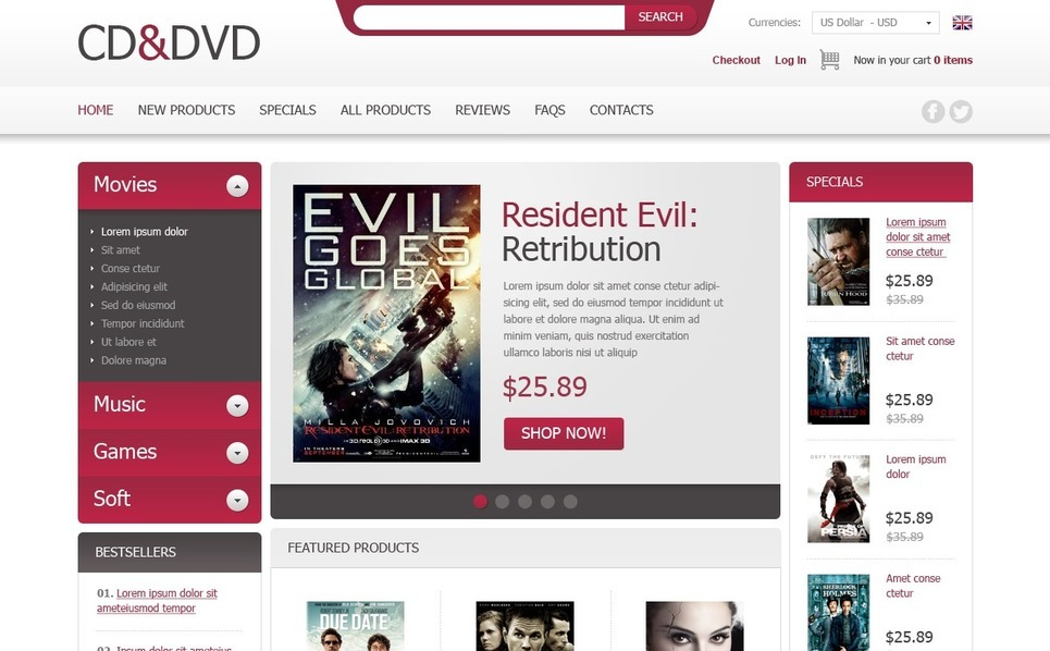 Szablon ZenCart #41437 na temat: sklep DVD New Screenshots BIG