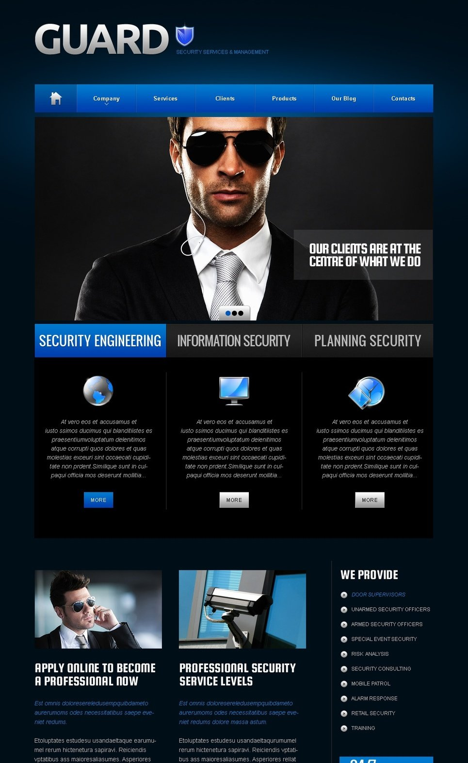 Personal Security Services Website Template with Dark Blue Background - image