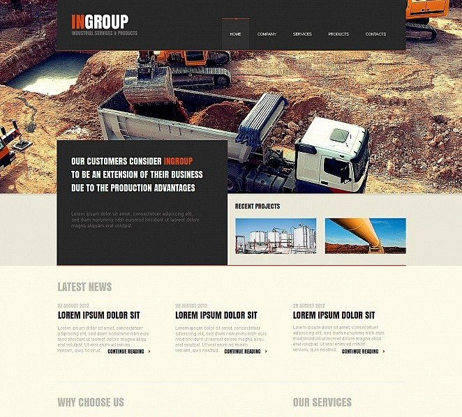 Premium Moto CMS HTML Template over Industriele New Screenshots BIG