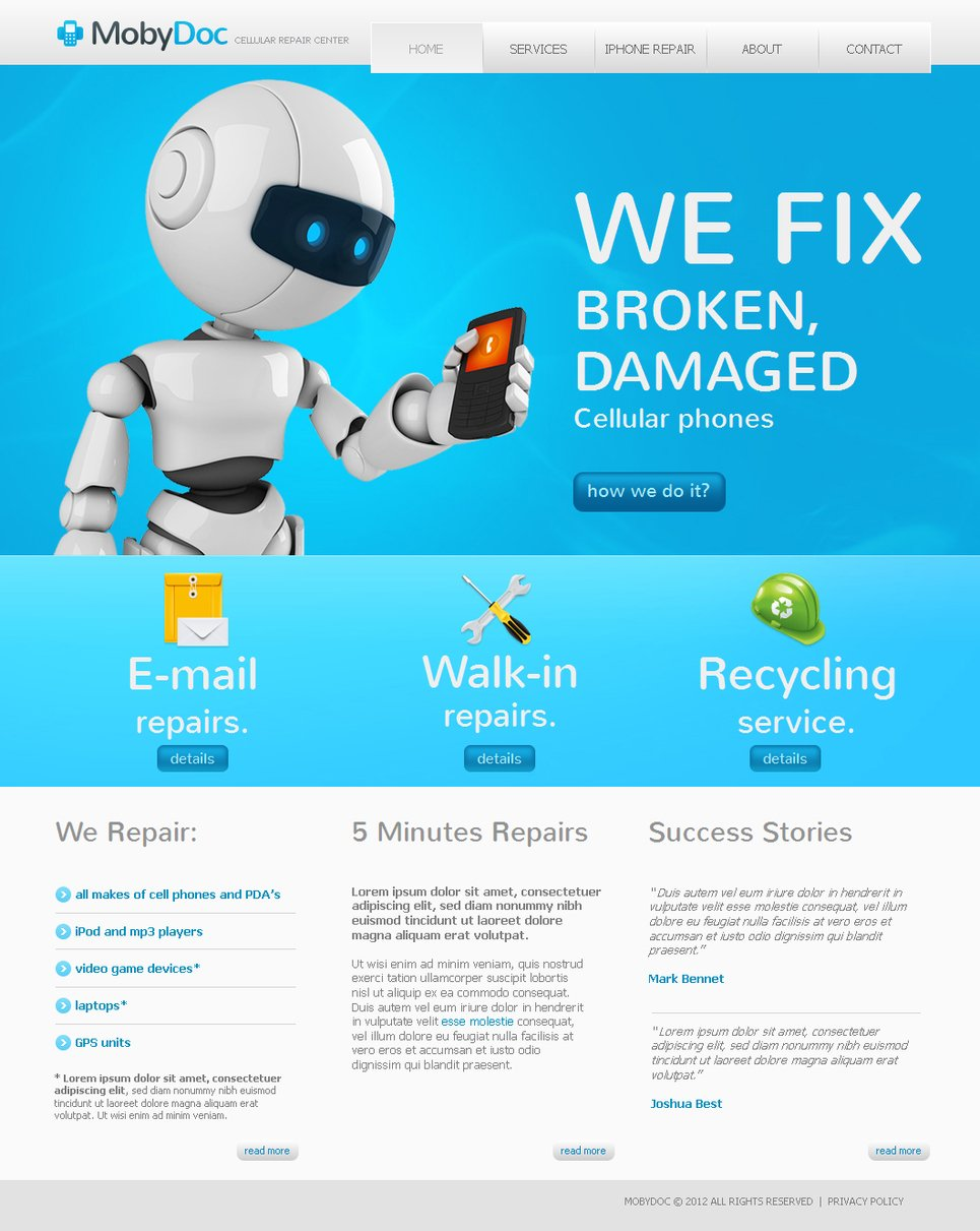 Cellular Repair Website Template Designed in White and Blue Colors - image