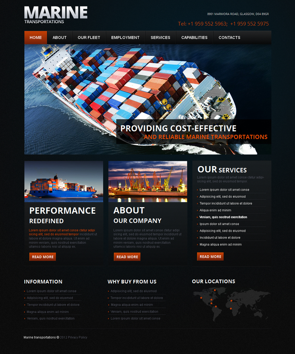 Marine Transportation Website Template for Business - image
