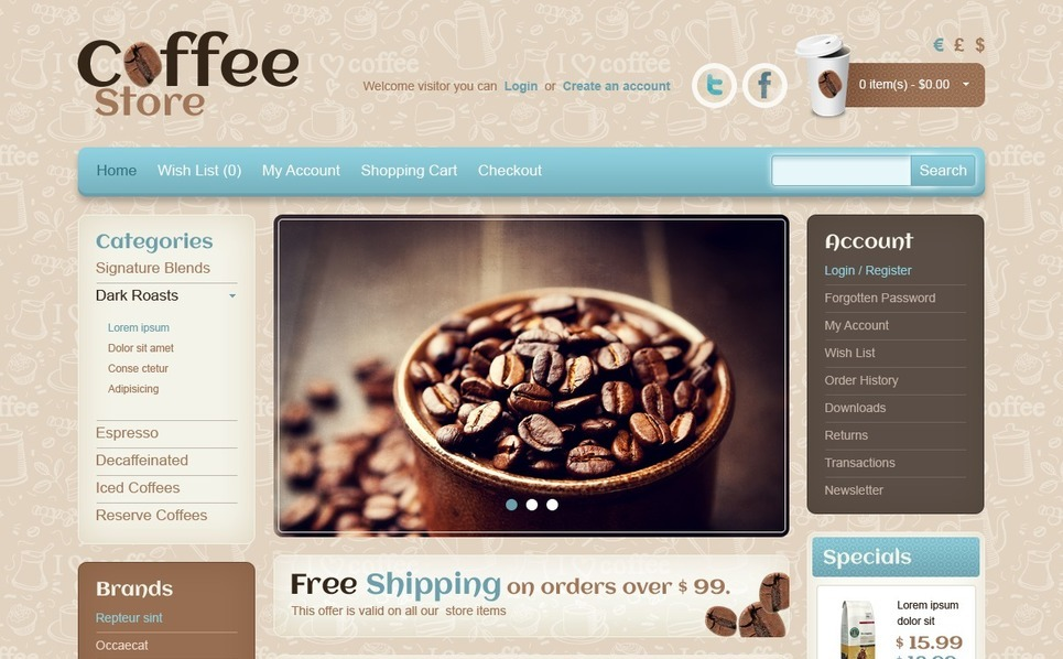 "Plantilla OpenCart ""Tienda de Café"" New Screenshots BIG"