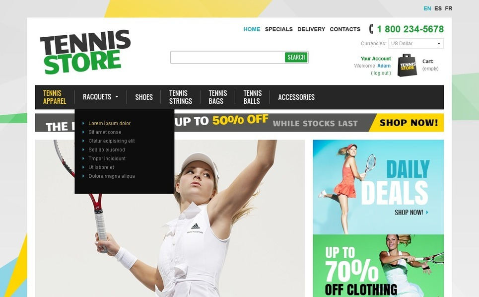 Szablon PrestaShop #41478 na temat: tenis New Screenshots BIG