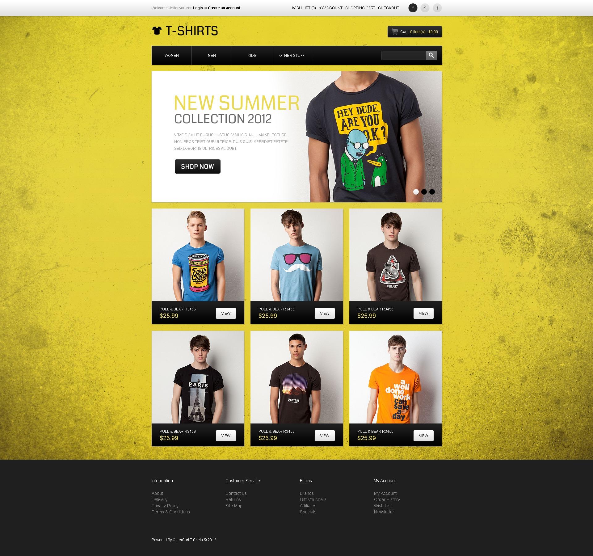 T-Shirt Store OpenCart Template #43628