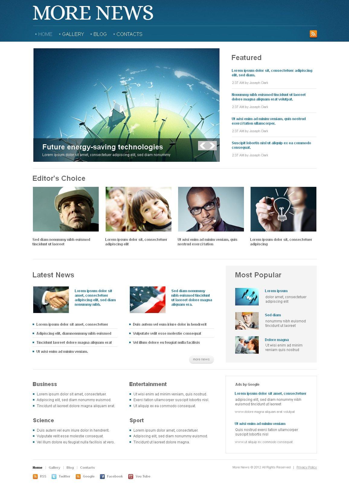 News Portal Moto CMS HTML Template #41456