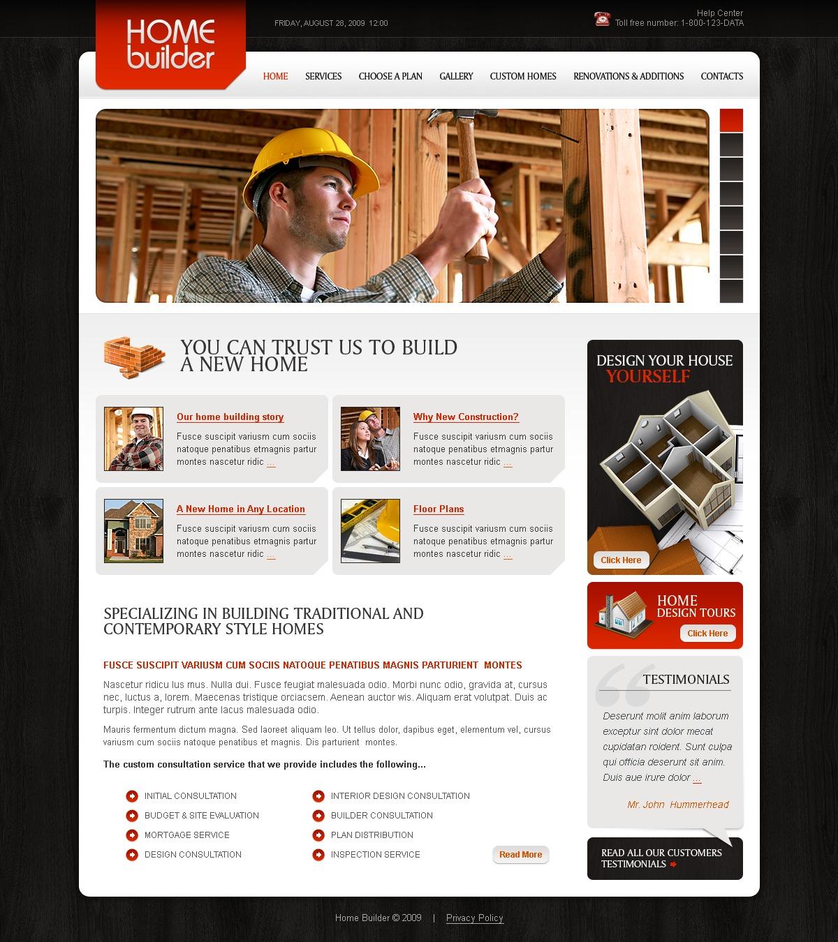 Prémium Építőipari vállalatok témakörű Facebook Flash CMS sablon 41487 - képernyőkép
