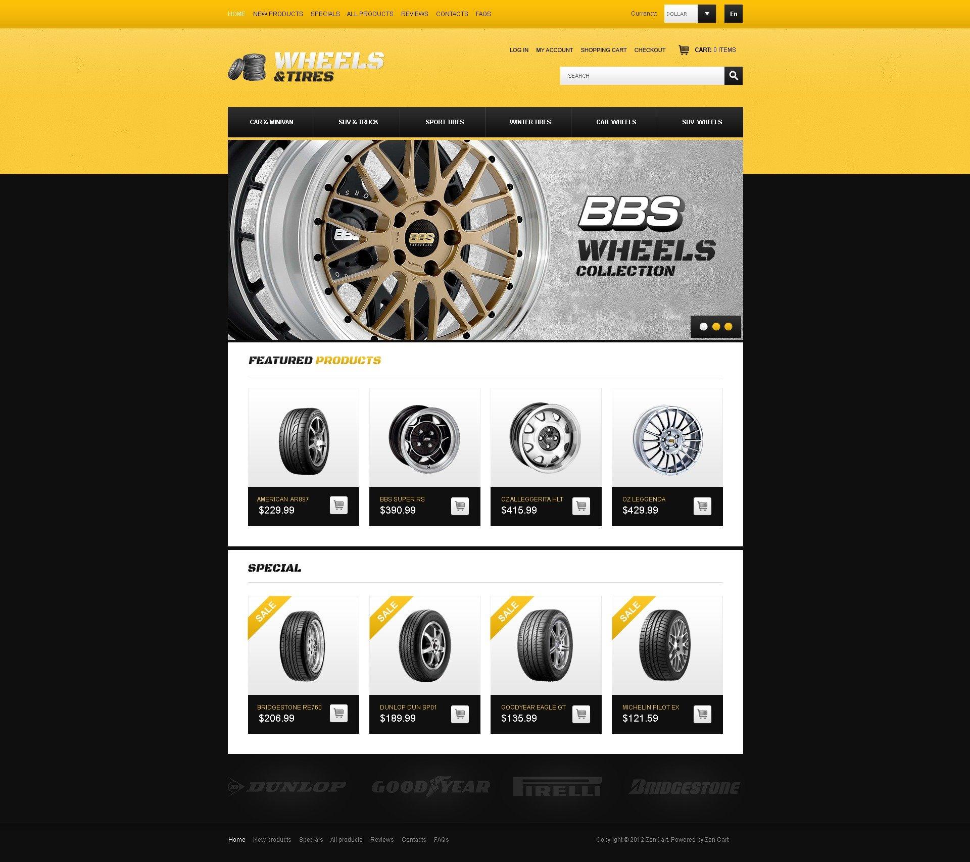 """Wheels & Tires"" - ZenCart шаблон №41499"