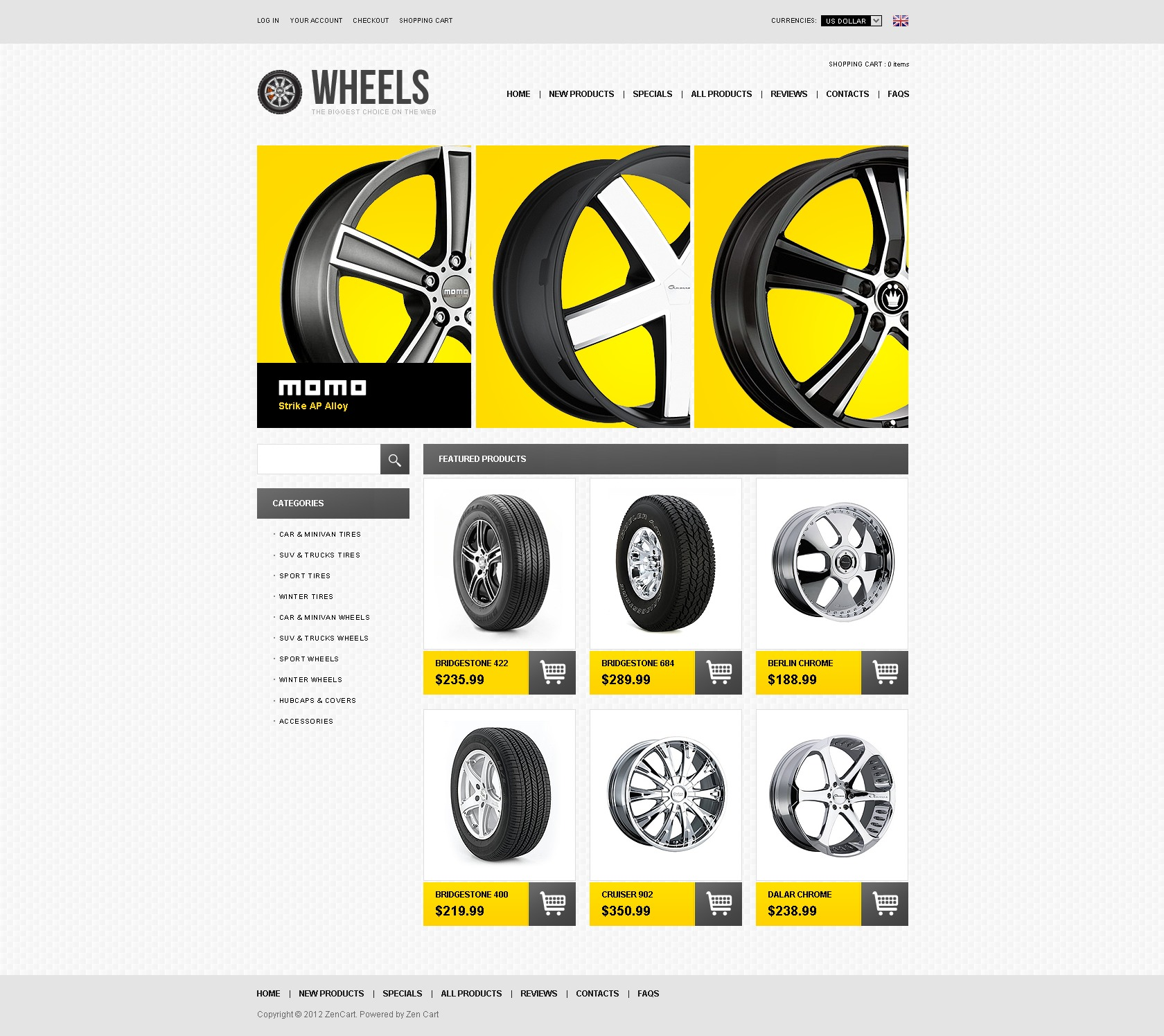 Wheels & Tires ZenCart Template