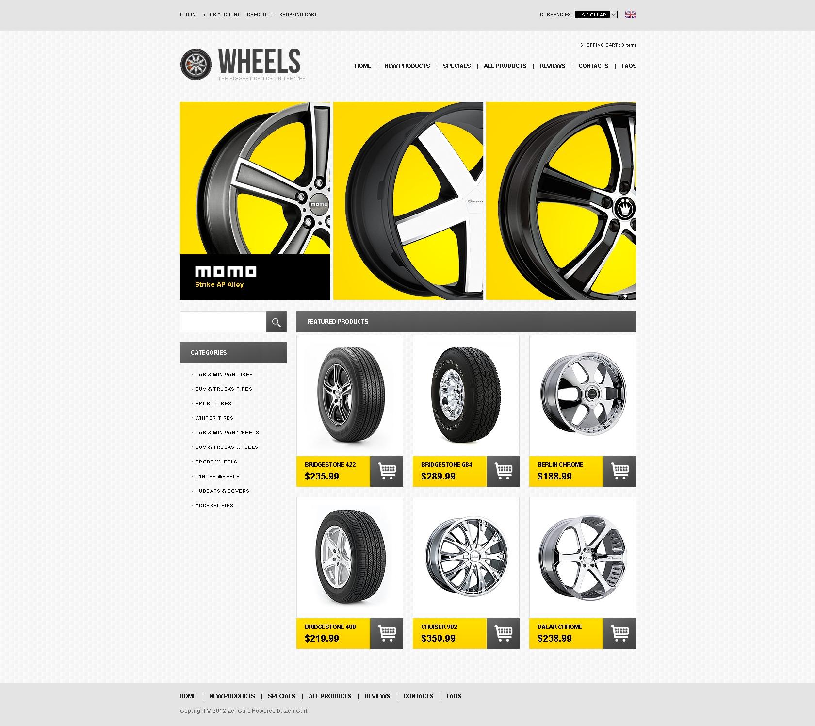 ZenCart шаблон на тему колеса та шини №41465