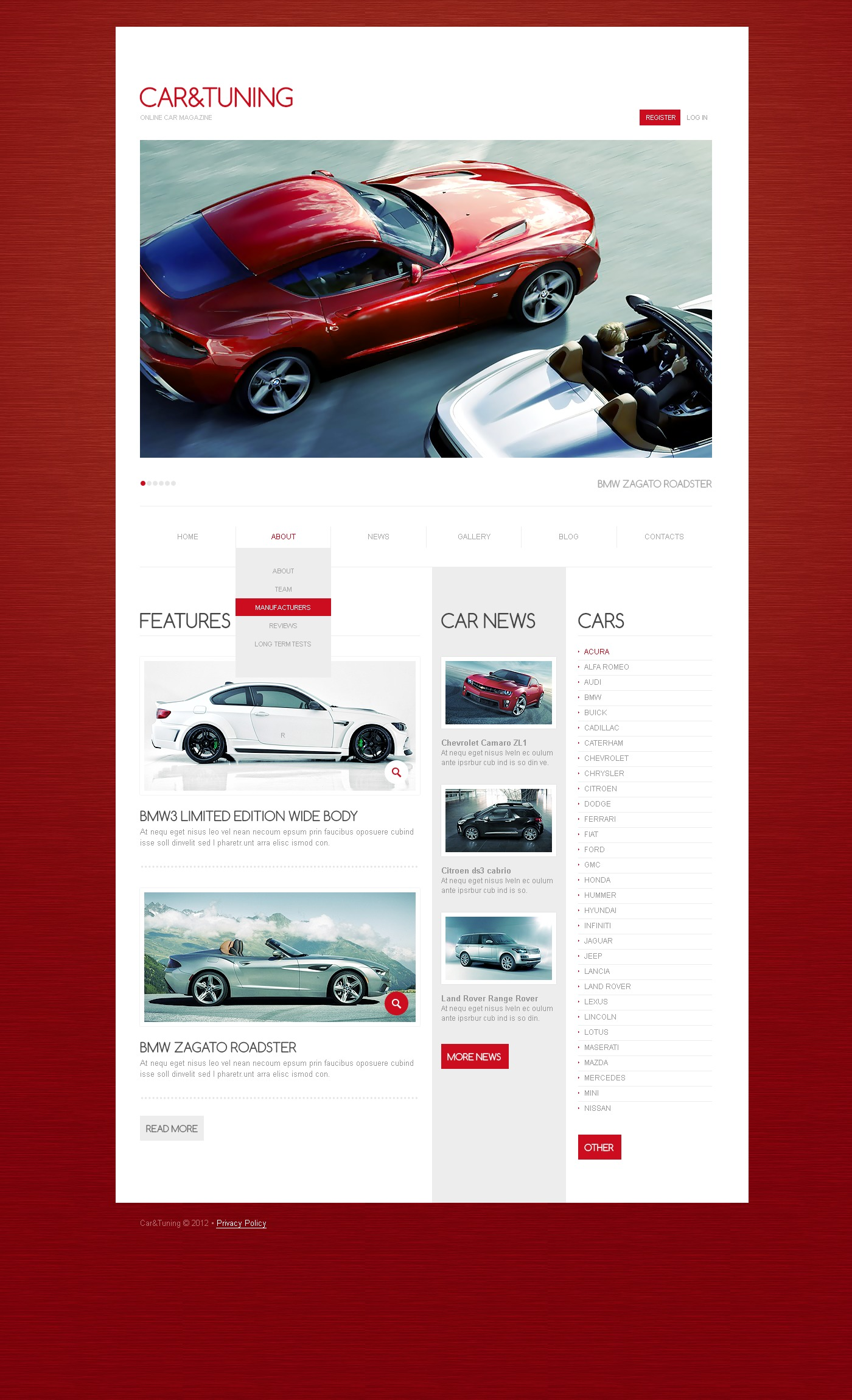 Car Tuning Drupal Template