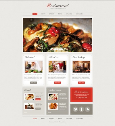 Responsive Plantilla Web #41570 para Sitio de  para Sitio de Cafeterías y Restaurantes