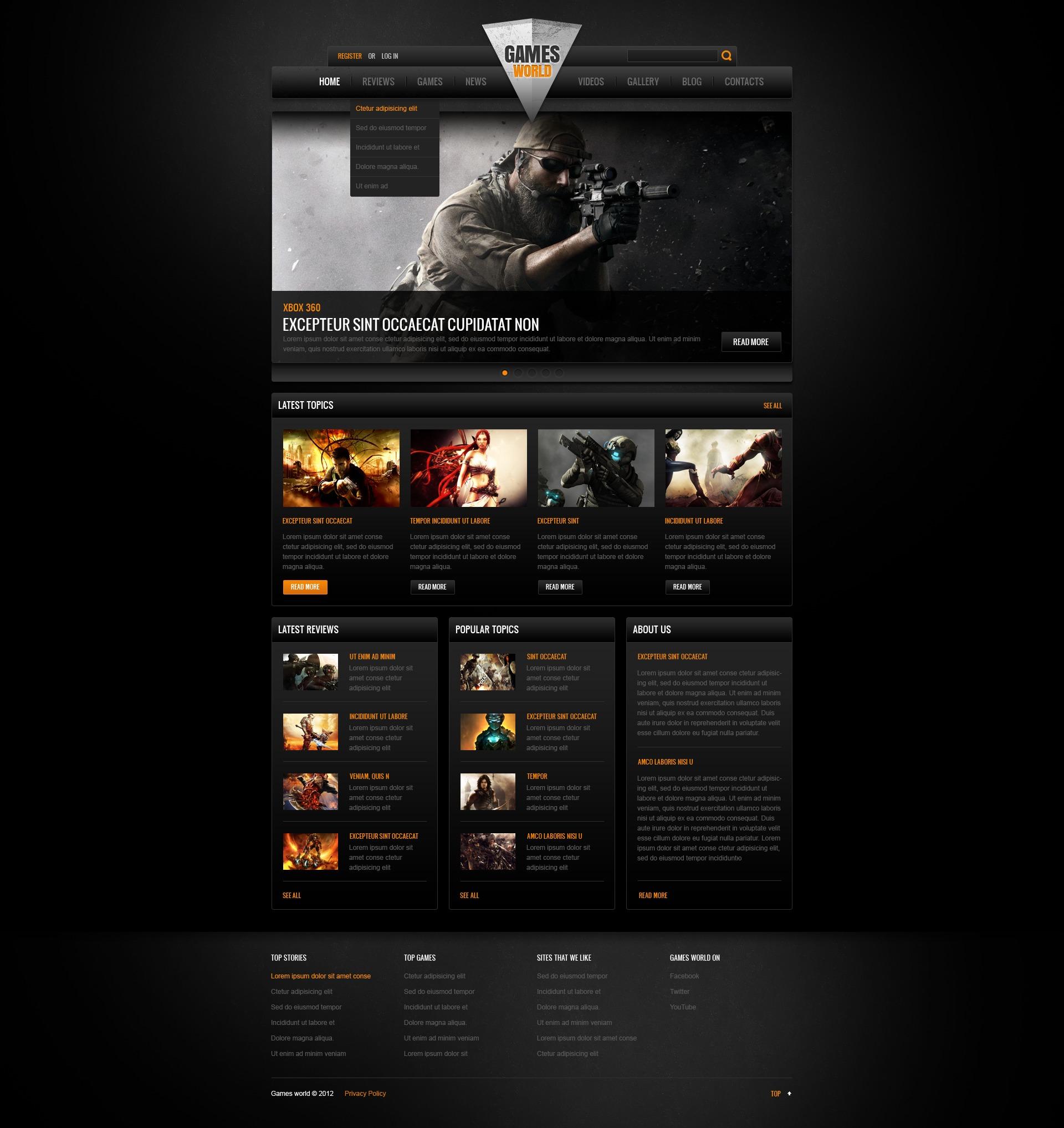 Plantillas Web para Sitios de Juegos
