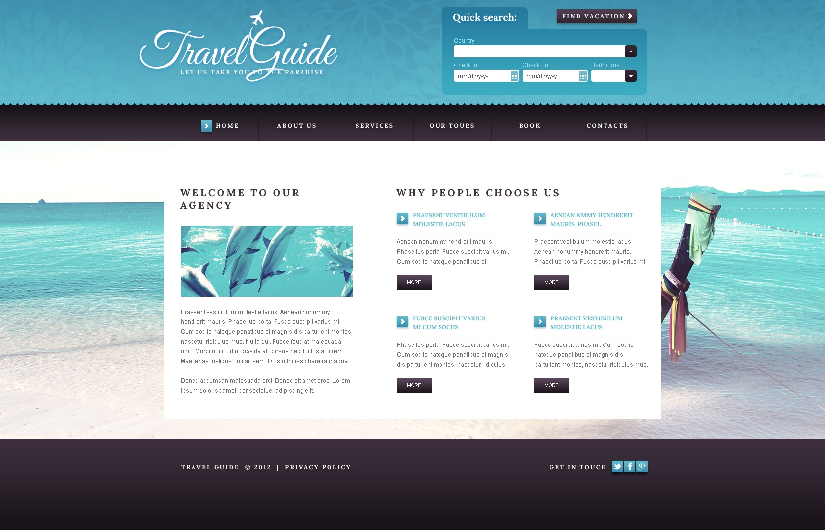 travel guide website template  41508