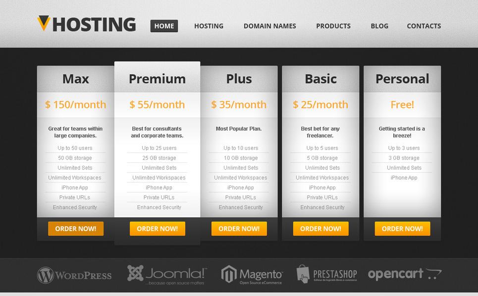 Modèle Moto CMS HTML  pour site de société d'hébergement New Screenshots BIG