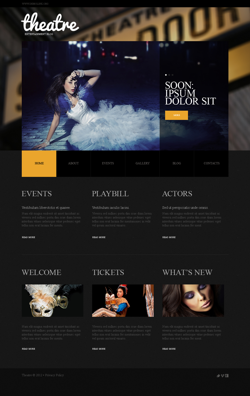 Theatre Website Template with jQuery Slider Zoom Effect - image