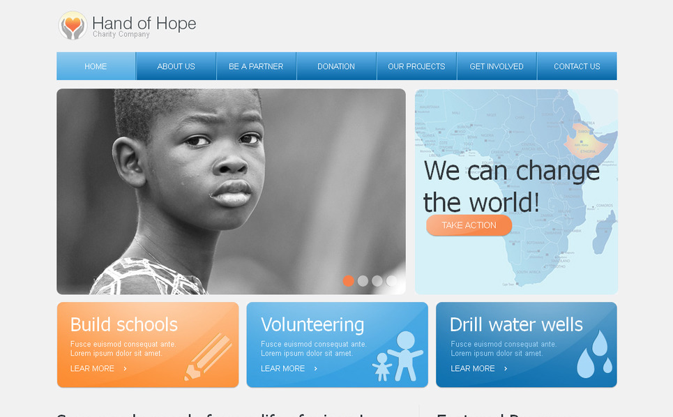 Template Moto CMS HTML para Sites de Caridade №41615 New Screenshots BIG