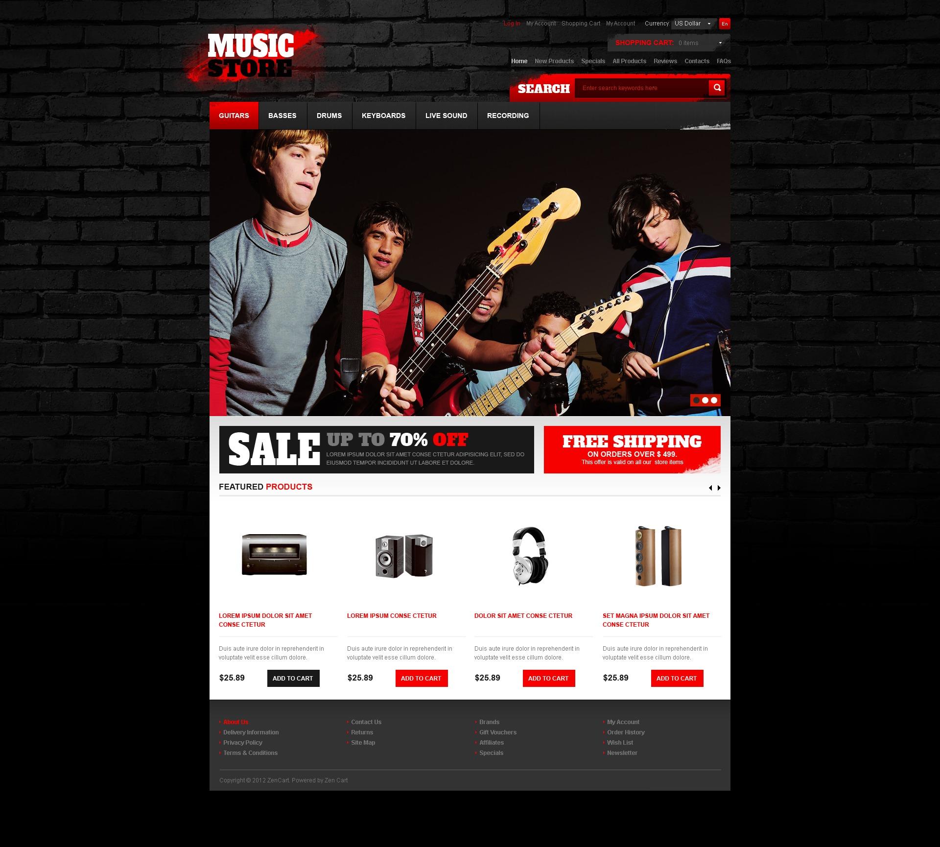 """""""Music Store"""" - ZenCart шаблон №41684 - скріншот"""