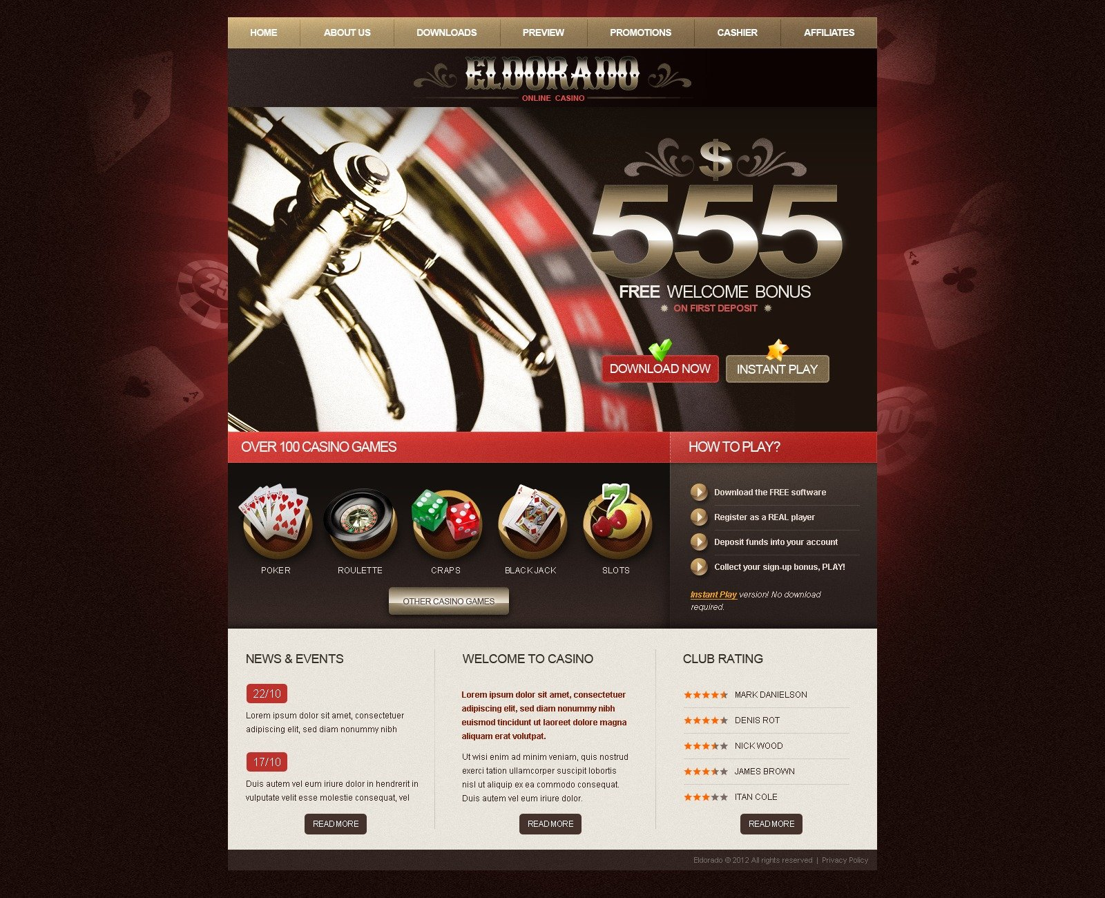 Шаблон для онлайн казино поиграть в слоты онлайнi