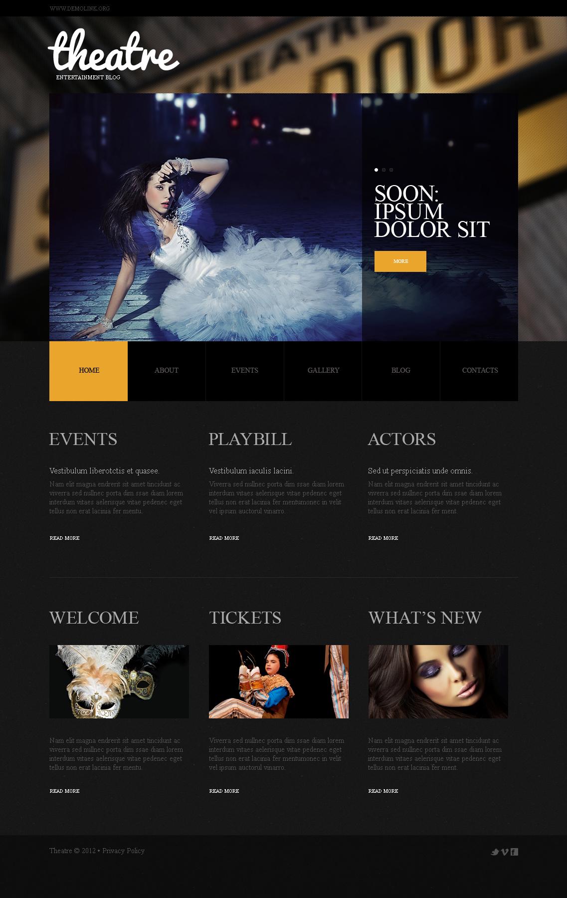 Prémium Színház Moto CMS HTML sablon 41606