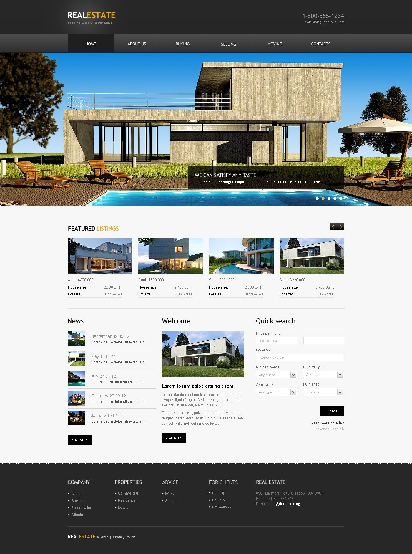 Real Estate Agency Website Template #41662