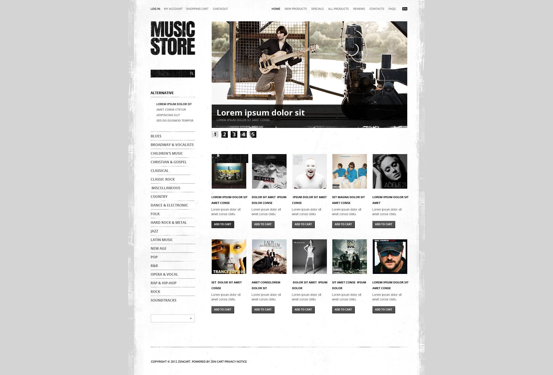 ZenCart шаблон на тему музичний магазин №41653 - скріншот