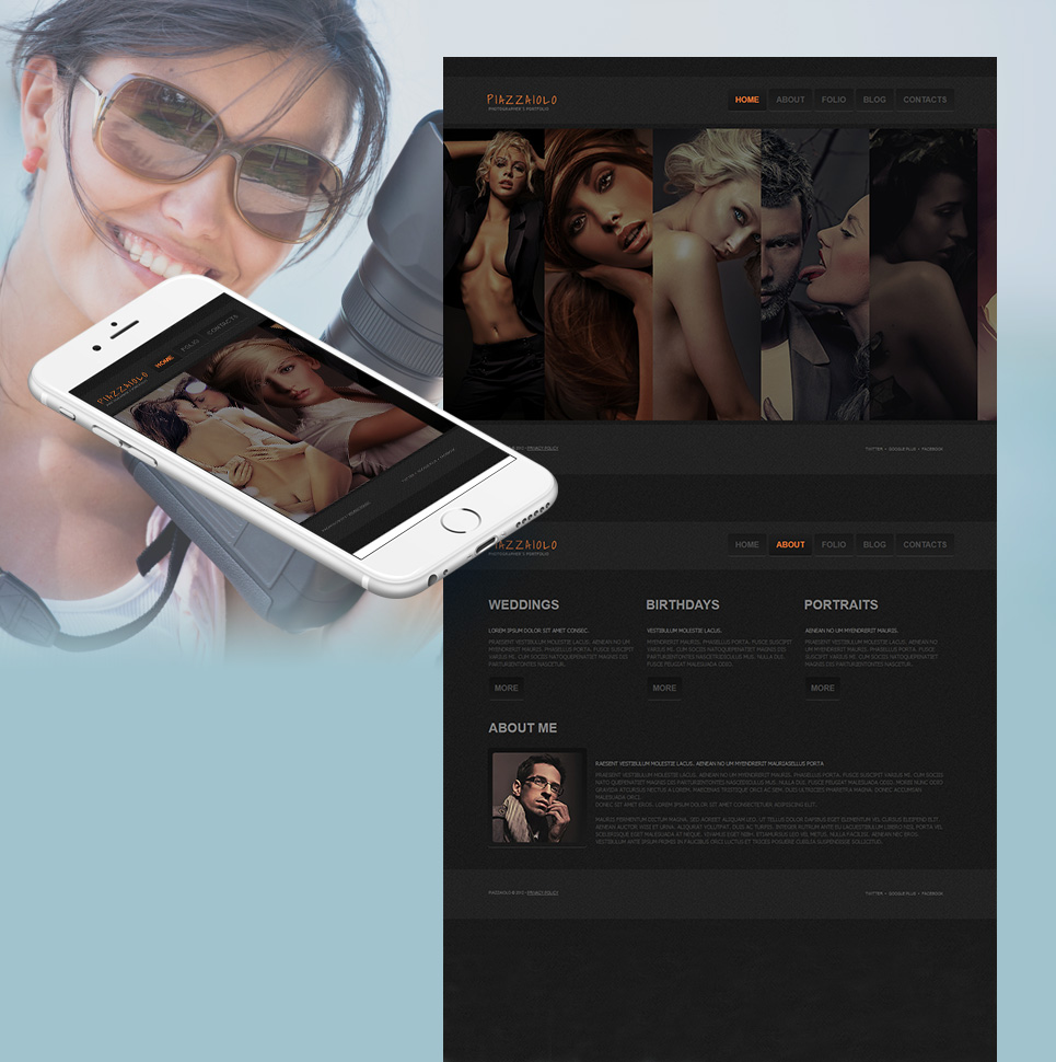 Photo Portfolio Website Template with Sliding Thumbnail Gallery - image