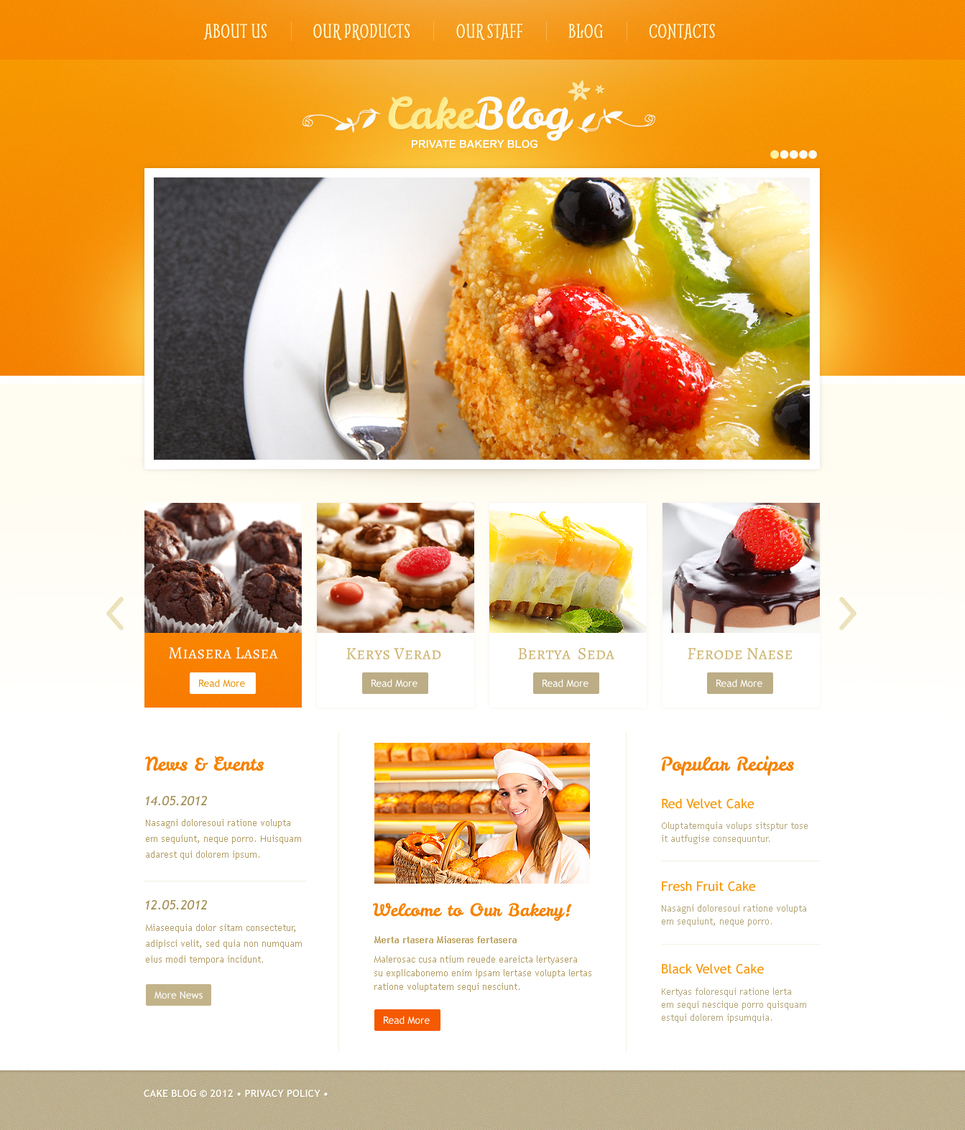 Bright Yellow Cooking Website Template - image