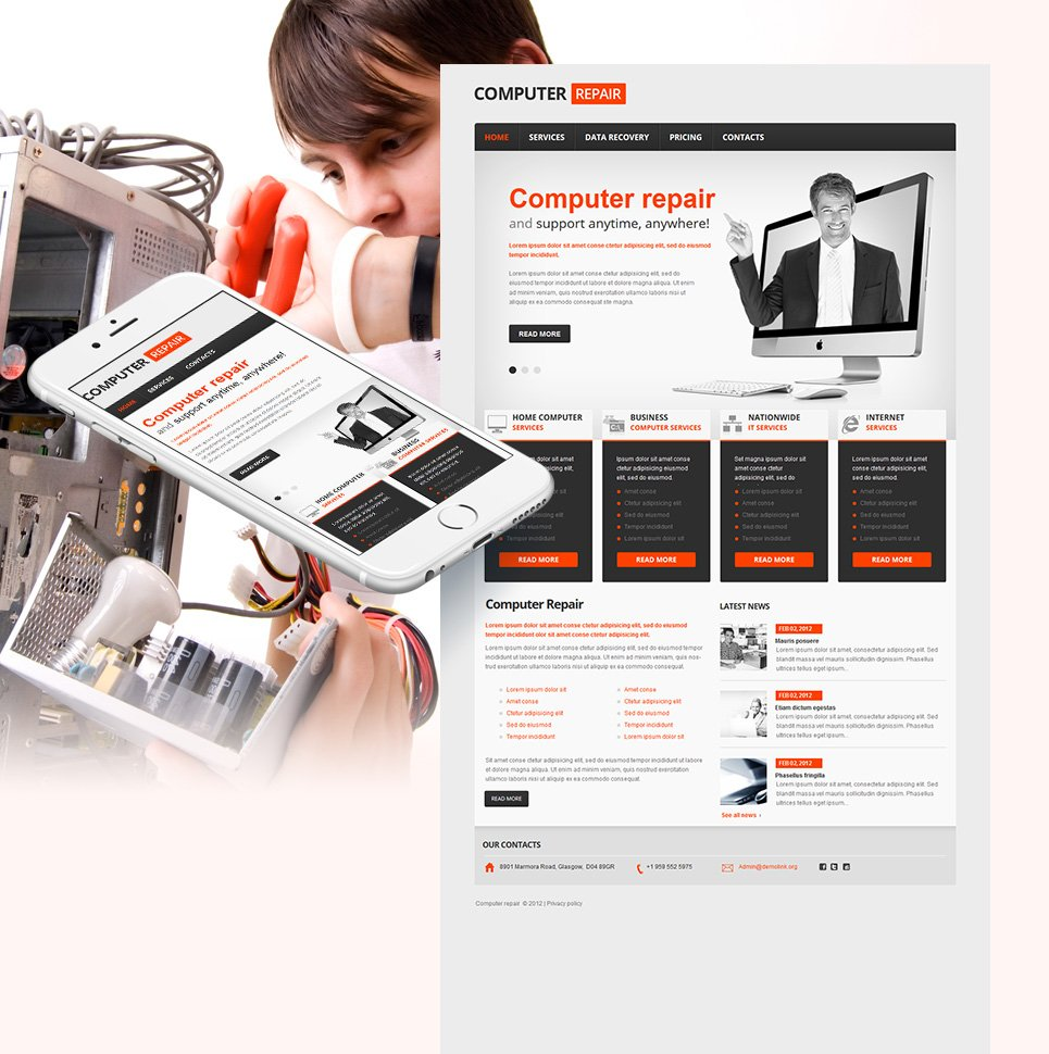 Computer Business Template with Big Content Slider in Header Area - image