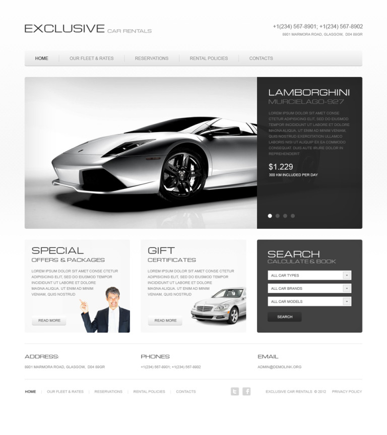 Car Rental Moto CMS HTML Template New Screenshots BIG