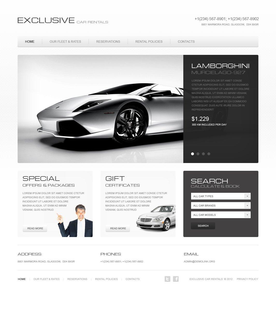 Car Rental Moto CMS HTML Template #41732