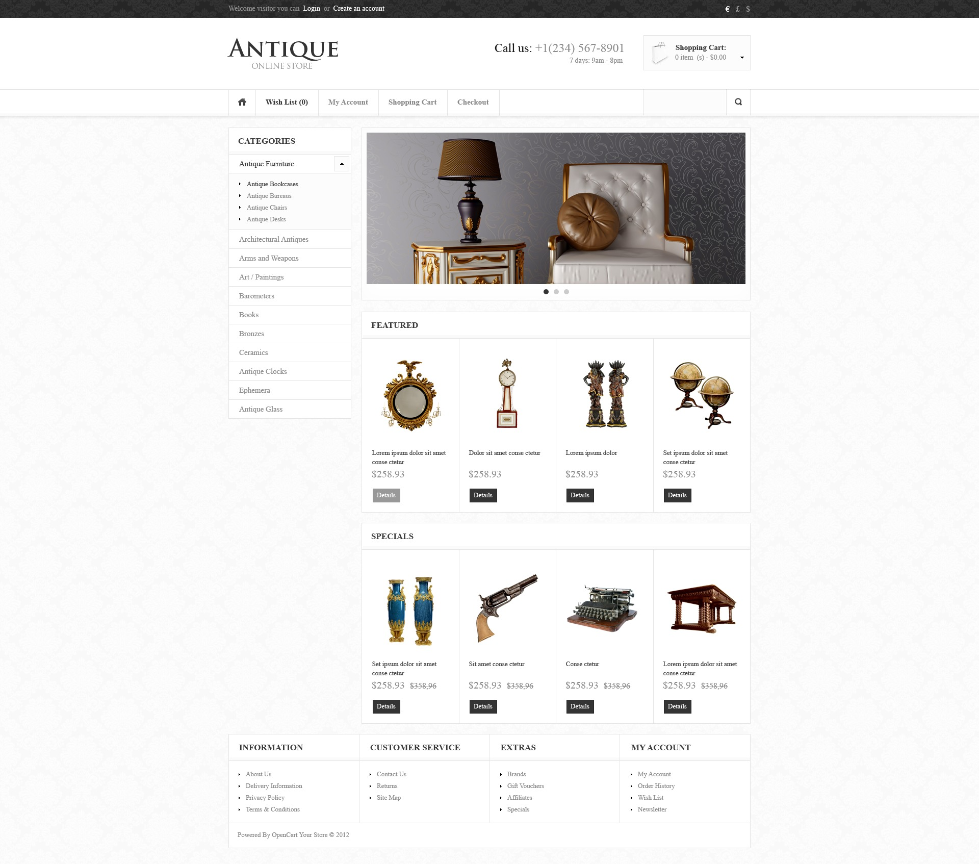 th me opencart 41748 pour magasin d 39 antiquit s. Black Bedroom Furniture Sets. Home Design Ideas