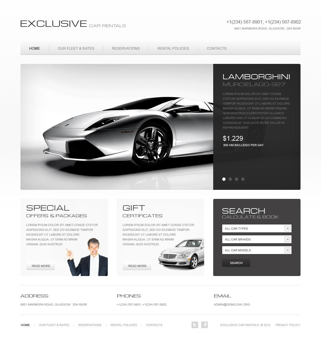Modèle HTML de CMS de location de voitures